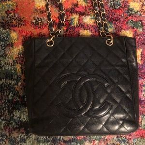 Chanel black caviar leather small tote
